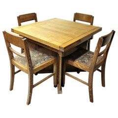Art Deco Dining Suite Table and Chairs by Bowman Bros