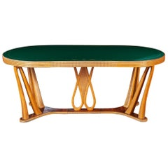 Art Deco Dining Table with Green Glass Top attributed to Osvaldo Borsani, 1940