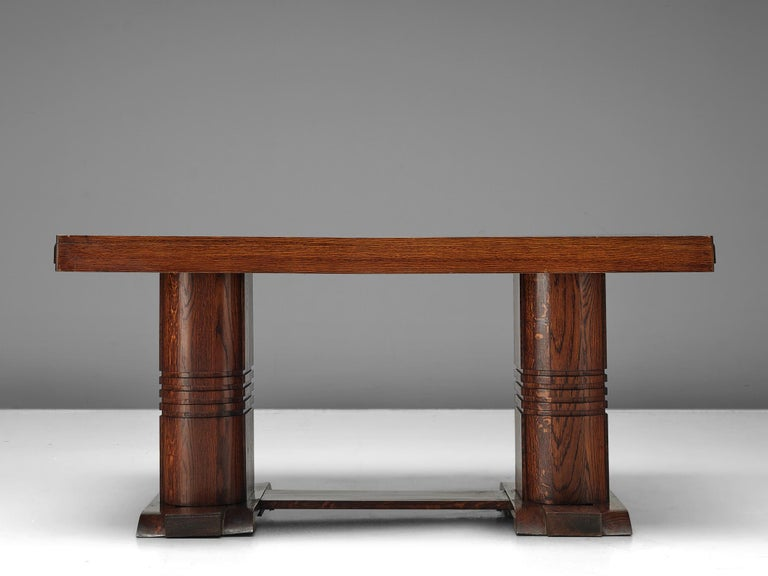 Art Deco Dining Table with Inlayed Top In Good Condition For Sale In Waalwijk, NL