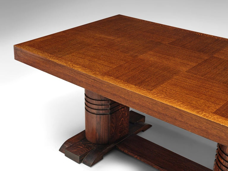 Mid-20th Century Art Deco Dining Table with Inlayed Top For Sale