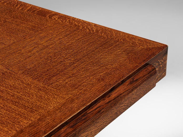 Hardwood Art Deco Dining Table with Inlayed Top For Sale
