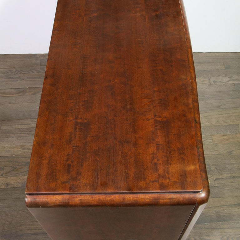 Signed Jules Leleu Art Deco Burled Acacia Cabinet w/ Bronze Fittings For Sale 5