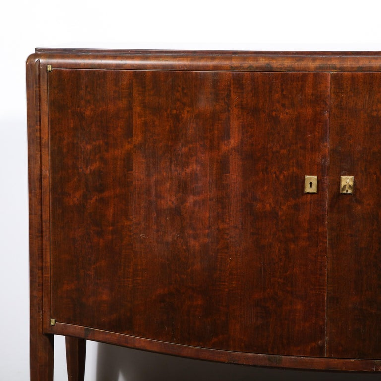 French Signed Jules Leleu Art Deco Burled Acacia Cabinet w/ Bronze Fittings For Sale
