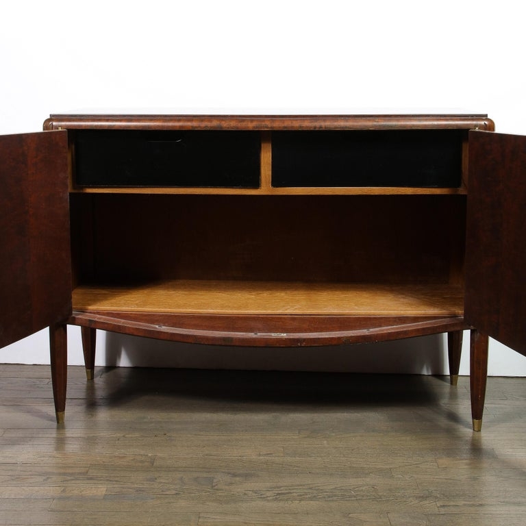 Mid-20th Century Signed Jules Leleu Art Deco Burled Acacia Cabinet w/ Bronze Fittings For Sale