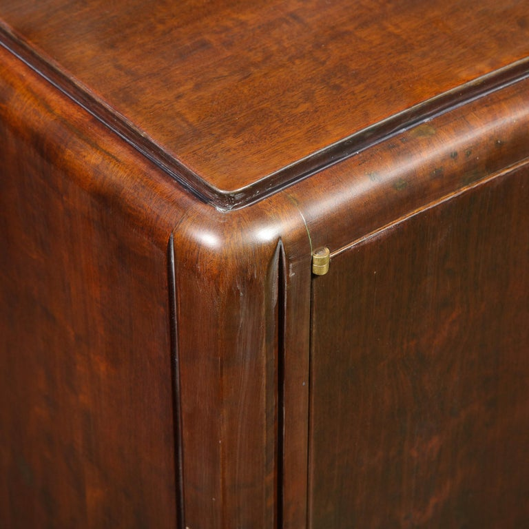 Signed Jules Leleu Art Deco Burled Acacia Cabinet w/ Bronze Fittings For Sale 3