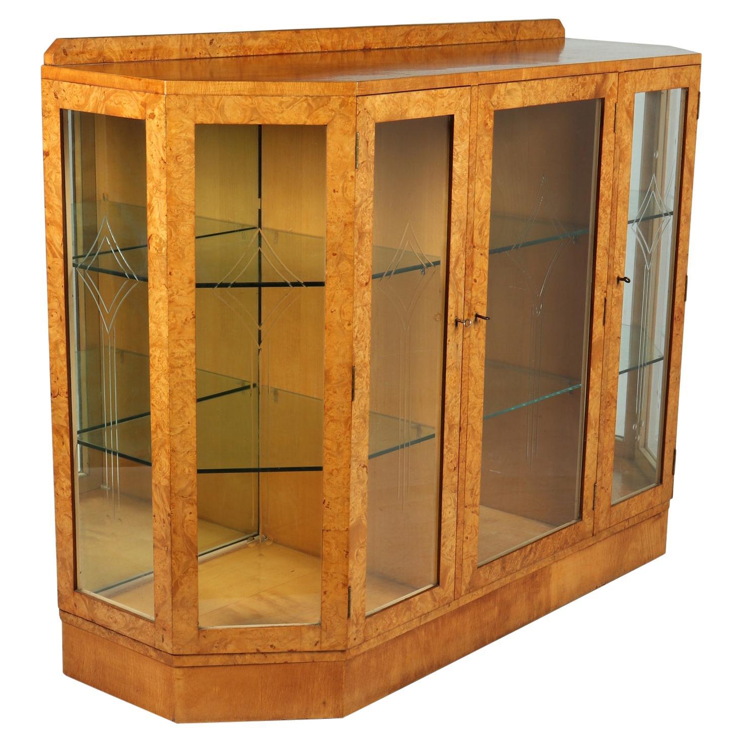 Art Deco Display Cabinet in Burr Maple, c1930