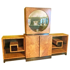 Art Deco Display Cabinet in Golden Mahogany with Vitrine and Greek Key Shelves