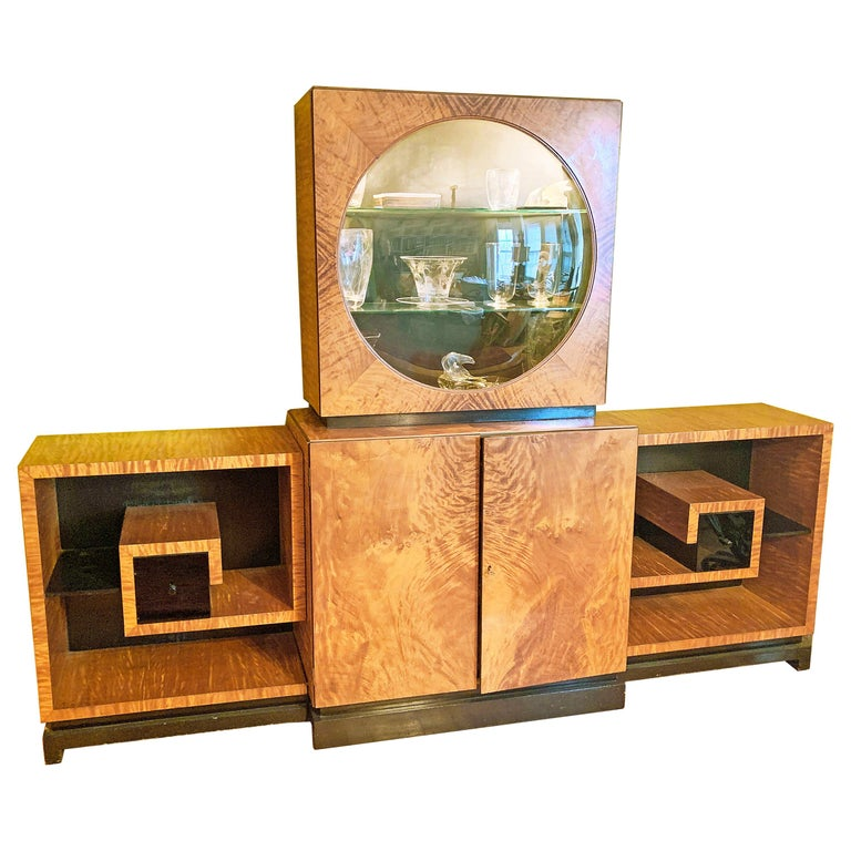Art Deco Display Cabinet in Golden Mahogany with Vitrine and Greek Key Shelves For Sale