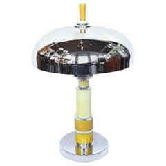 Art Deco Dome Lamp Chromed & Polished Metal shade and Bakelite Stem