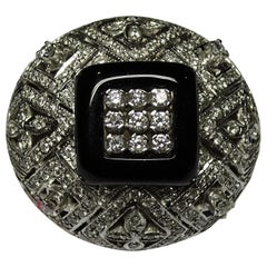 Art Deco Style Dome Ring Onyx White Diamond 18 Karat White Gold Ring
