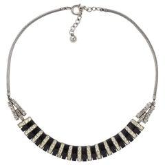 Art Deco DoSo Silver Tone Black Bakelite and Rhinestone Necklace circa 1930s