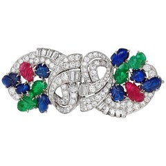 Art Deco Double Clip Brooch with Diamonds, Emeralds, Rubies and Sapphires