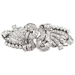 Art Deco Double Clip Diamond Platinum Brooch, circa 1930s