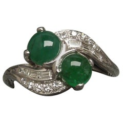 Art Deco Double Emerald 14 Karat ByPass Ring