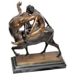 Art Deco Double Figure Bronze, 'Cervitaur' Nude on a Half Man/Deer, Rare Item
