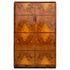 Art Deco Double Figured Walnut Wardrobe, circa 1930