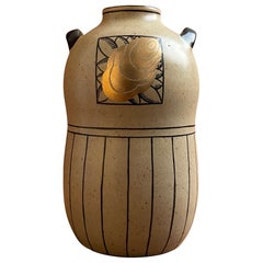 Art Deco Double-Handled Stoneware Vase by Jean Luce