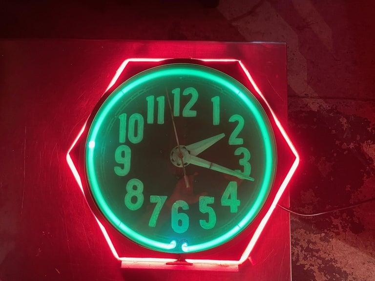 North American Art Deco Double Neon Hexagon Vintage Wall Clock For Sale