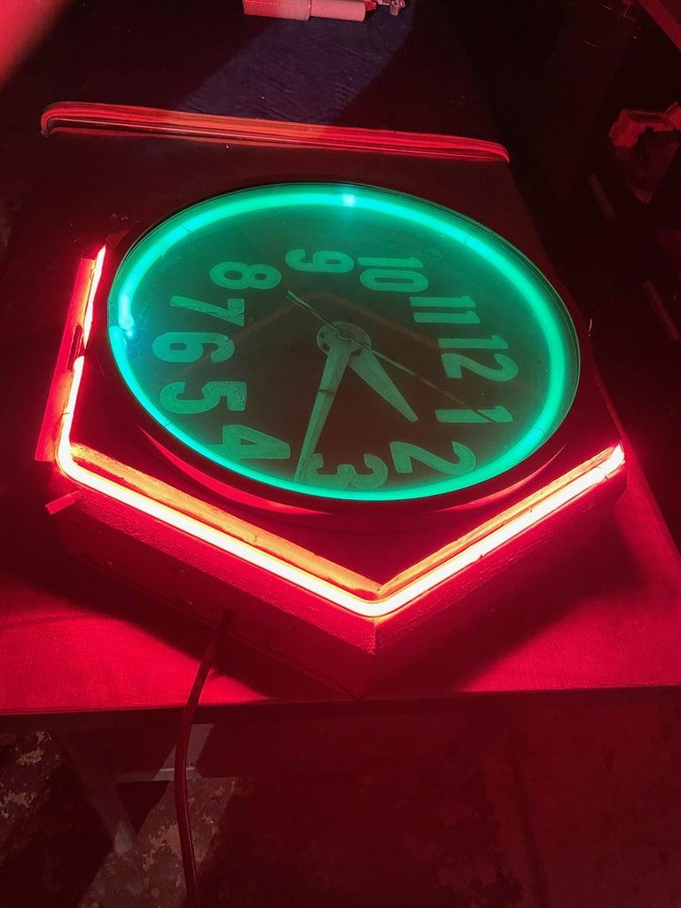 Mid-20th Century Art Deco Double Neon Hexagon Vintage Wall Clock For Sale