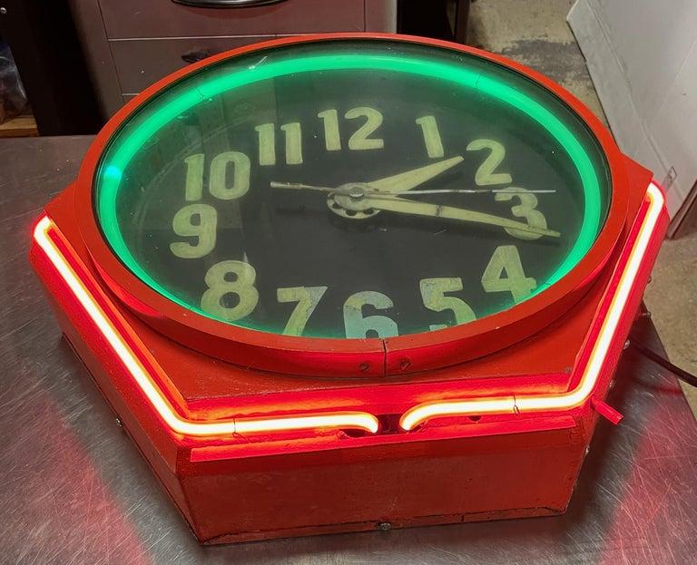 Metal Art Deco Double Neon Hexagon Vintage Wall Clock For Sale