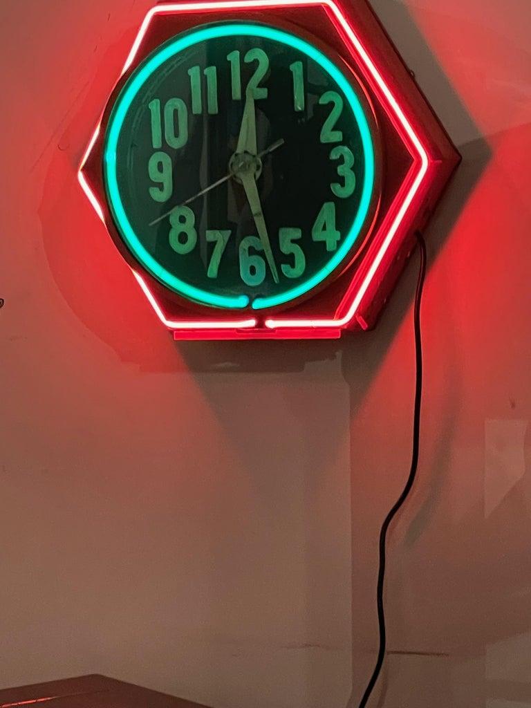 Art Deco Double Neon Hexagon Vintage Wall Clock For Sale 1