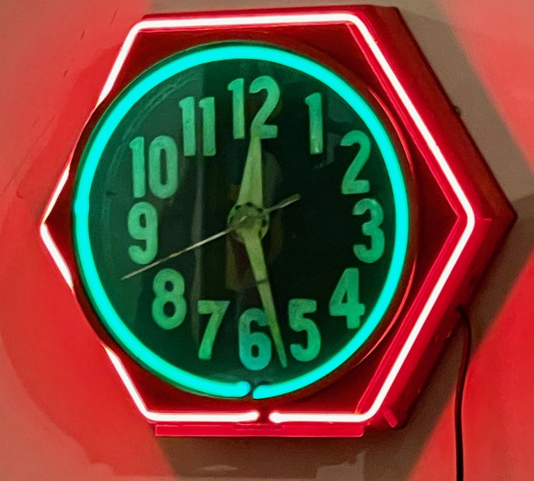 Art Deco Double Neon Hexagon Vintage Wall Clock For Sale 2