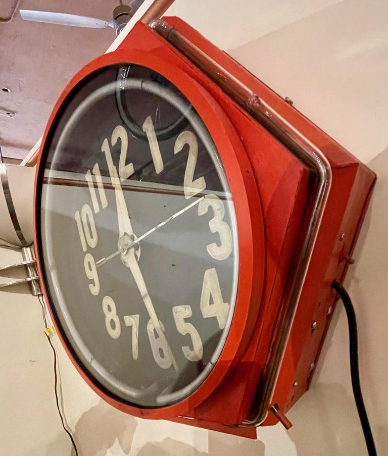 Art Deco Double Neon Hexagon Vintage Wall Clock For Sale 3