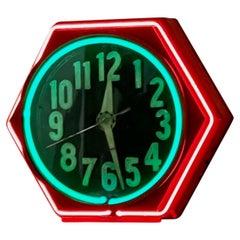 Art Deco Double Neon Hexagon Vintage Wall Clock
