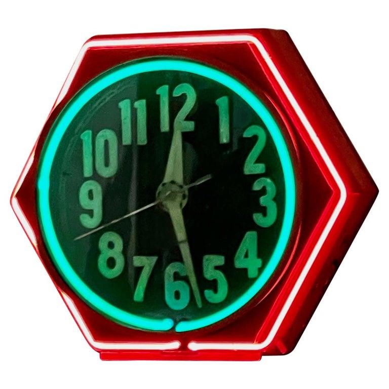 Art Deco Double Neon Hexagon Vintage Wall Clock For Sale