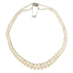 GIA Certified Art Deco Double Strand Cultured Pearls with Diamond Clasp, France