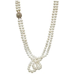 Art Deco Double Strand Pearl Cocktail Necklace