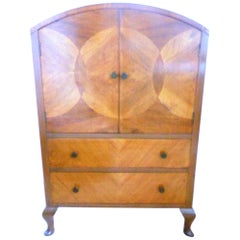 Art Deco Dresser/Linen Cupboard with Marquetry Doors and Two Drawers, 1930