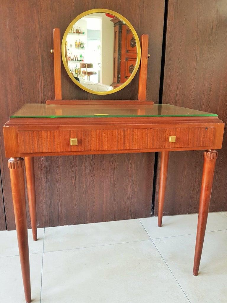 Mid-20th Century Art Deco Dresser Vanity Desk Signed by Majorelle, France, 1938 For Sale