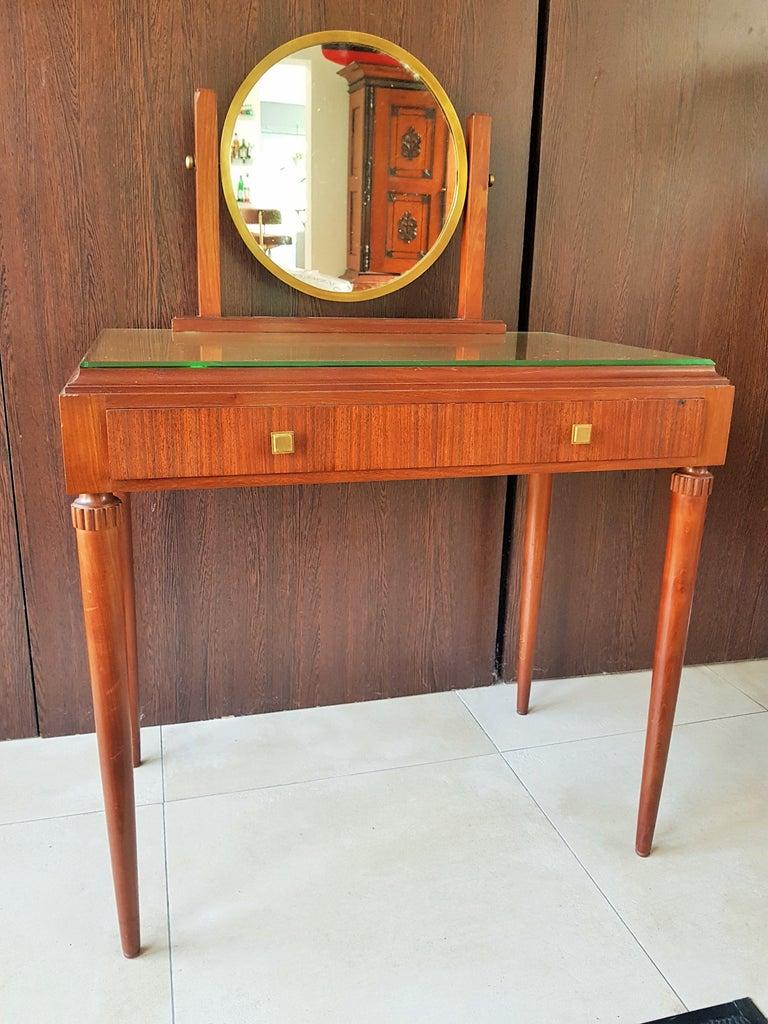 Brass Art Deco Dresser Vanity Desk Signed by Majorelle, France, 1938 For Sale