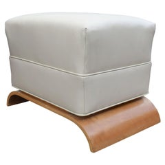Art Deco Dressing Stool in Sycamore and Leather, circa 1930