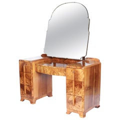 Art Deco Dressing Table Burr Walnut Veneer and Original Shaped Mirror circa 1930
