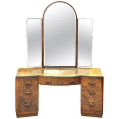 Art Deco Dressing Table in Figured Walnut Veneers