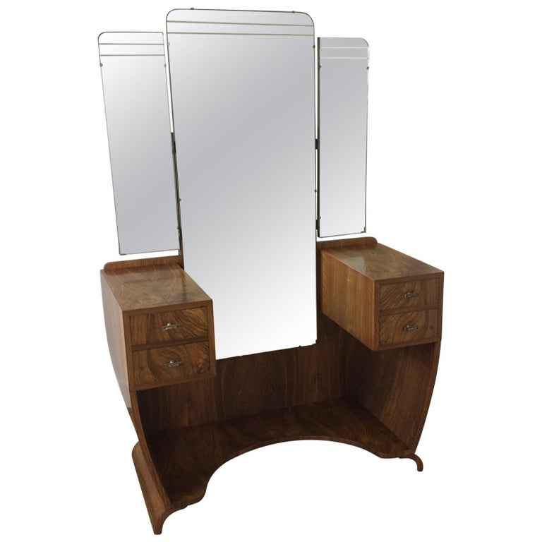 Art Deco Dressing Table n a Figured Walnut For Sale