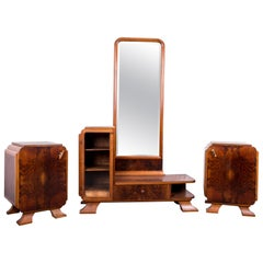 Art Deco Dressing Table or Vanity, and Pair Nightstands, 1930s