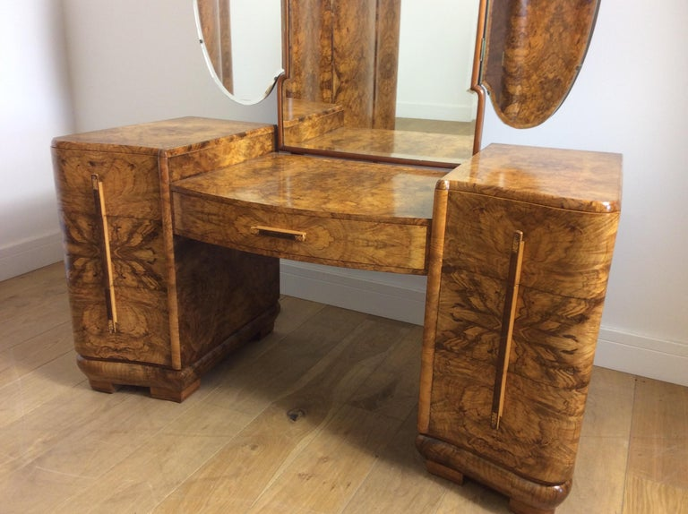 British Art Deco Dressing Table with Cloud Shape Mirror For Sale