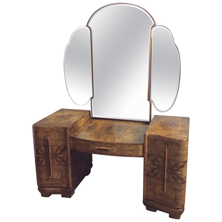 Art Deco Dressing Table with Cloud Shape Mirror For Sale