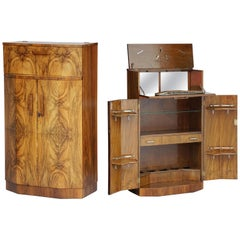 Art Deco Drinks Cupboard or Bar Cabinet of Burled Walnut from England