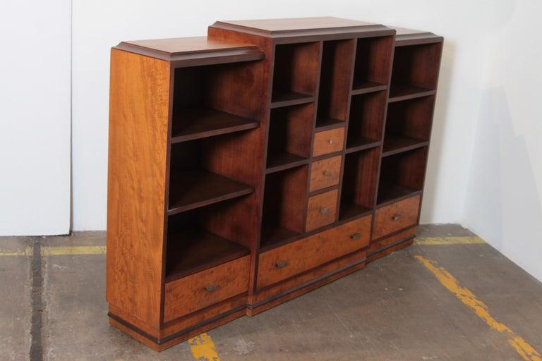 American Art Deco Dynamique Creations Johnson Furniture Co. Skyscraper Bookcase Wall Unit For Sale