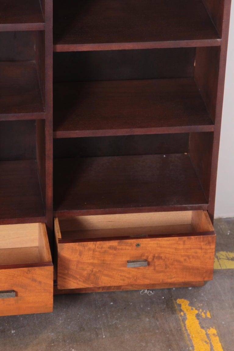 Burl Art Deco Dynamique Creations Johnson Furniture Co. Skyscraper Bookcase Wall Unit For Sale