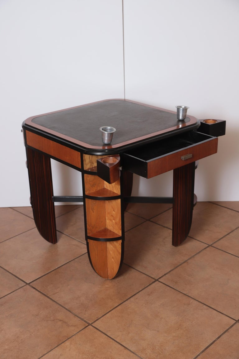 Lacquered Art Deco Dynamique Creations Johnson Furniture Co. Skyscraper Game / Card Table For Sale