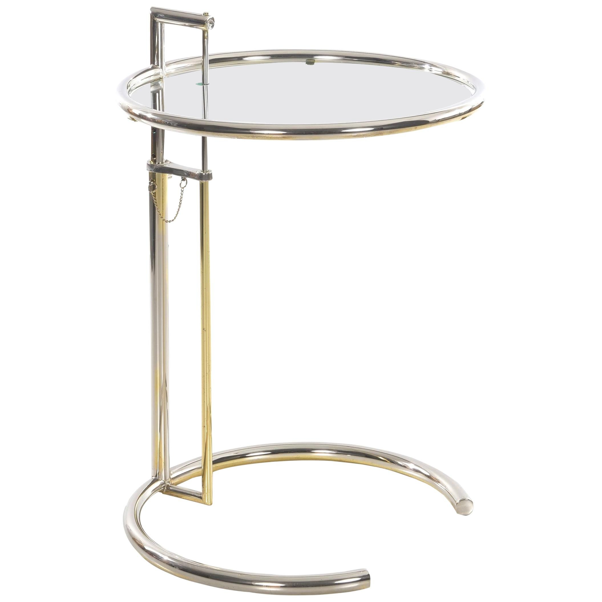 """Art Deco """"E 1027"""" Chrome and Glass Side Table by Eileen Gray, circa 1970s"""