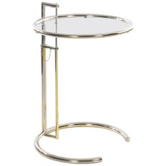 "Art Deco ""E 1027"" Chrome and Glass Side Table by Eileen Gray, circa 1970s"