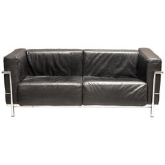 Art Deco Early 20th Century Le Corbusier Leather Loveseat