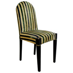 Art Deco Early 20th Century Vintage Striped Velvet Desk Accent Side Chair Green