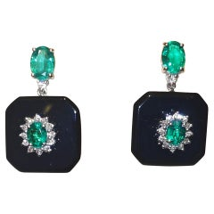 Art Deco Earrings Emerald and Onix